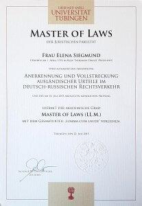 Master of Laws - LL.M. - Elena Siegmund